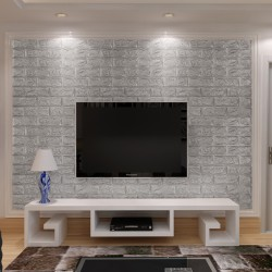 3D самозалепващ стикер Classical brick design, silver grey